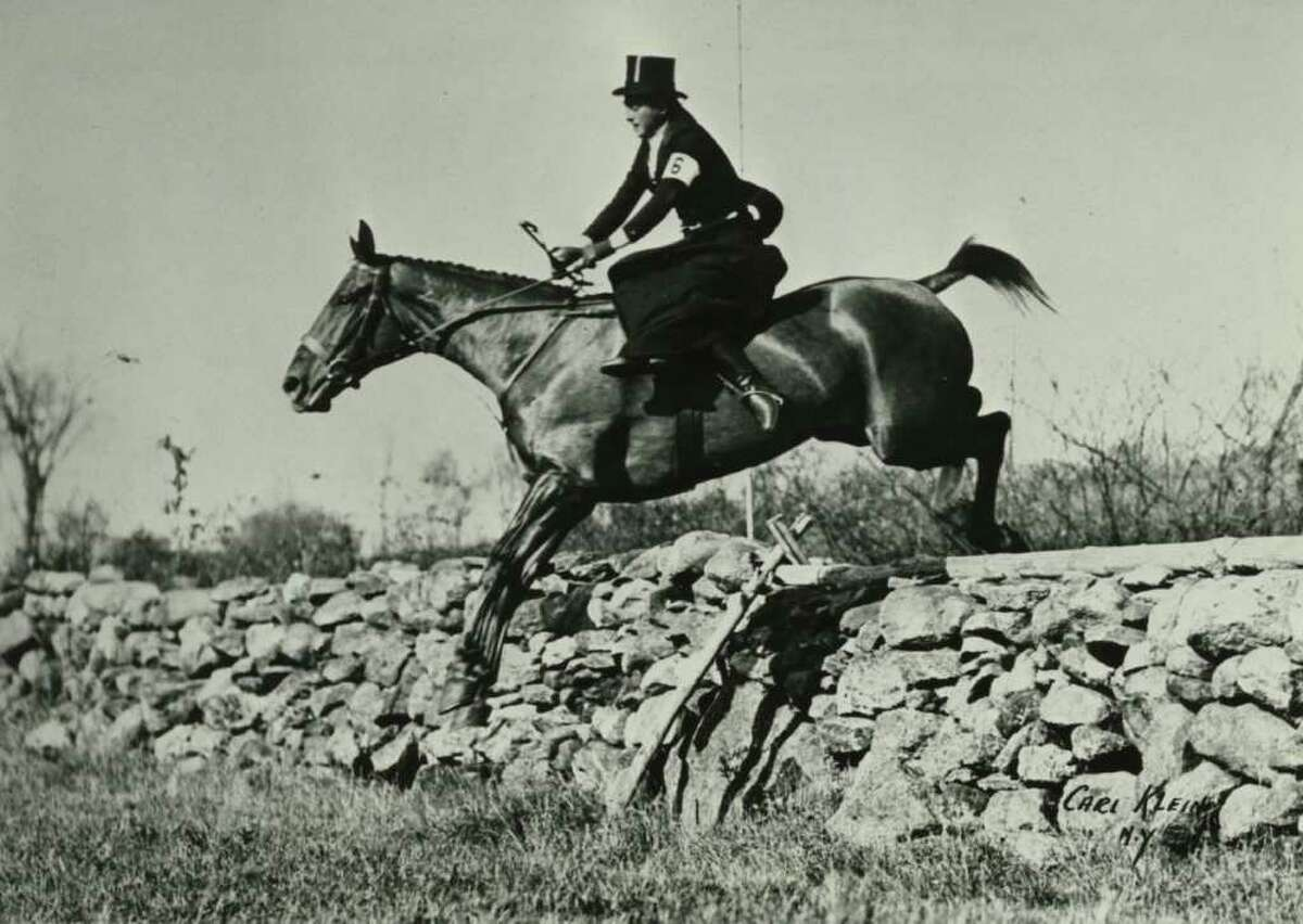 Alva Gimbel jumping sidesaddle, circa 1930-35.