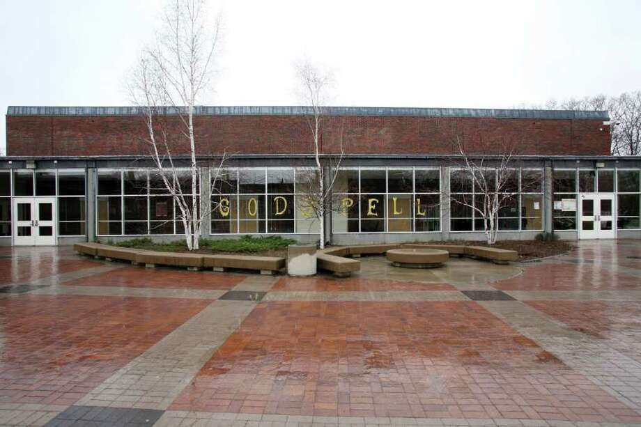 Greenwich High School auditorium exterior as seen on March 23, 2011.  Photo by David Ames. Photo: File Photo / Greenwich Time File Photo