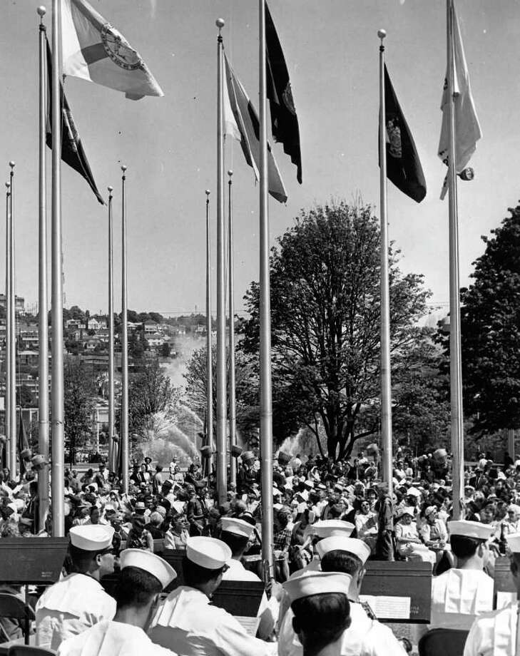 The flag pavilion, July 8, 1965. (seattlepi.com file photo) Photo: Seattlepi.com File / Seattle Post-Intelligencer