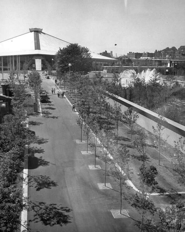 View from Skyride looking west toward the Coliseum. The street was eventually torn up and repaved. July 26, 1964. (seattlepi.com file photo) Photo: Seattlepi.com File / Seattle Post-Intelligencer