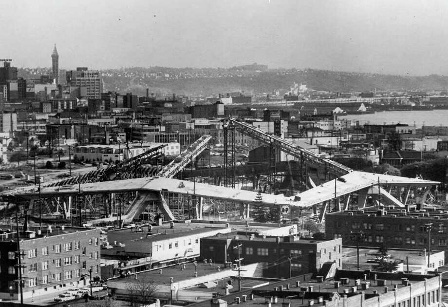 Construction of the Coliseum, now KeyArena, Nov. 23, 1963. (seattlepi.com file photo) Photo: Seattlepi.com File / Seattle Post-Intelligencer