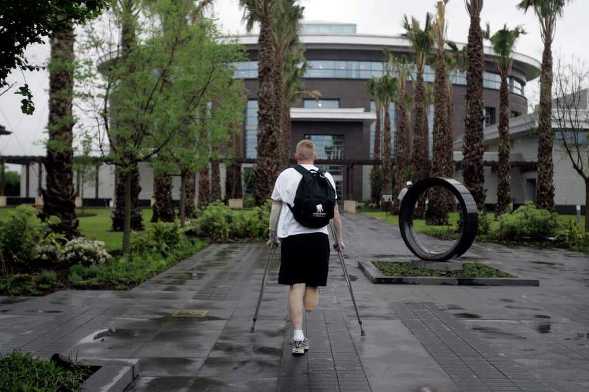 Army Sgt. Paul Gillilan heads to the Center for the Intrepid from Fisher House for physical therapy at Brooke Army Medical Center. Gillilan lost his leg in an explosion in Ramadi, Iraq.