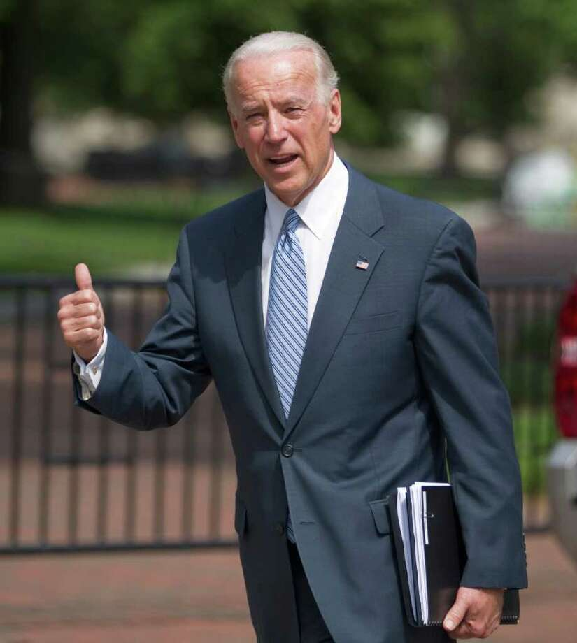 Vice President Joe Biden arrives at the Blair House in Washington, Tuesday, May 10, 2011, for a meeting with lawmakers on the legislative framework for deficit reduction.  (AP Photo/Evan Vucci) Photo: Evan Vucci