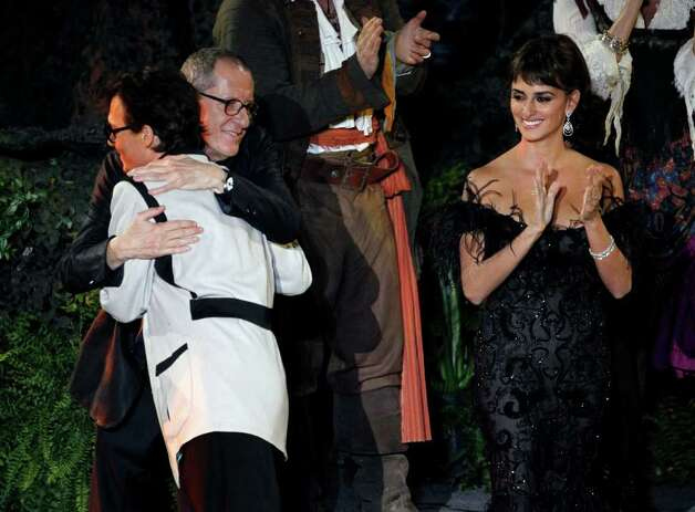 "From left, Johnny Depp, Geoffrey Rush, and Penélope Cruz arrive at the World Premiere of ""Pirates of the Caribbean: On Stranger Tides"" at Disneyland in Anaheim, Calif., on Saturday, May 7, 2011. Photo: AP"