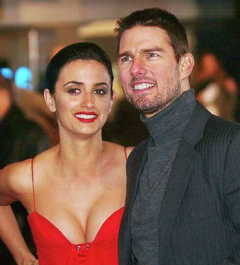 U.S. actor Tom Cruise with his girlfriend, Spanish actress Penelope Cruz, in London's Leicester Squa