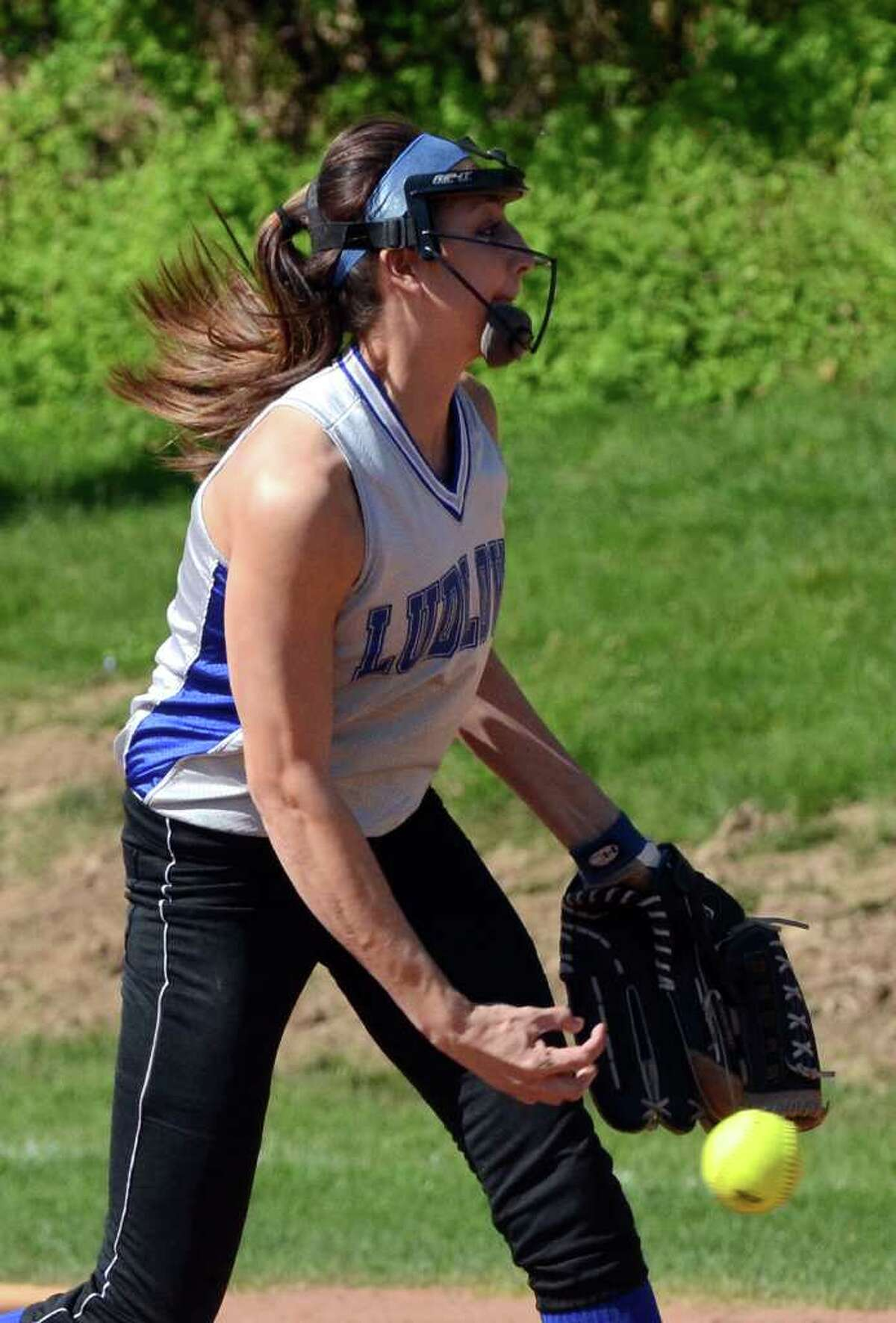 Fairfield Ludlowe's Aliza Guerrero pitches during the softball game against Greenwich on Monday, May 9, 2011.