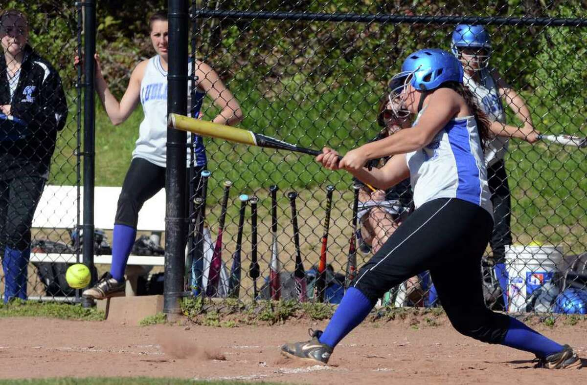 Fairfield Ludlowe's Maggie Lapolla at bat during the softball game against Greenwich on Monday, May 9, 2011.