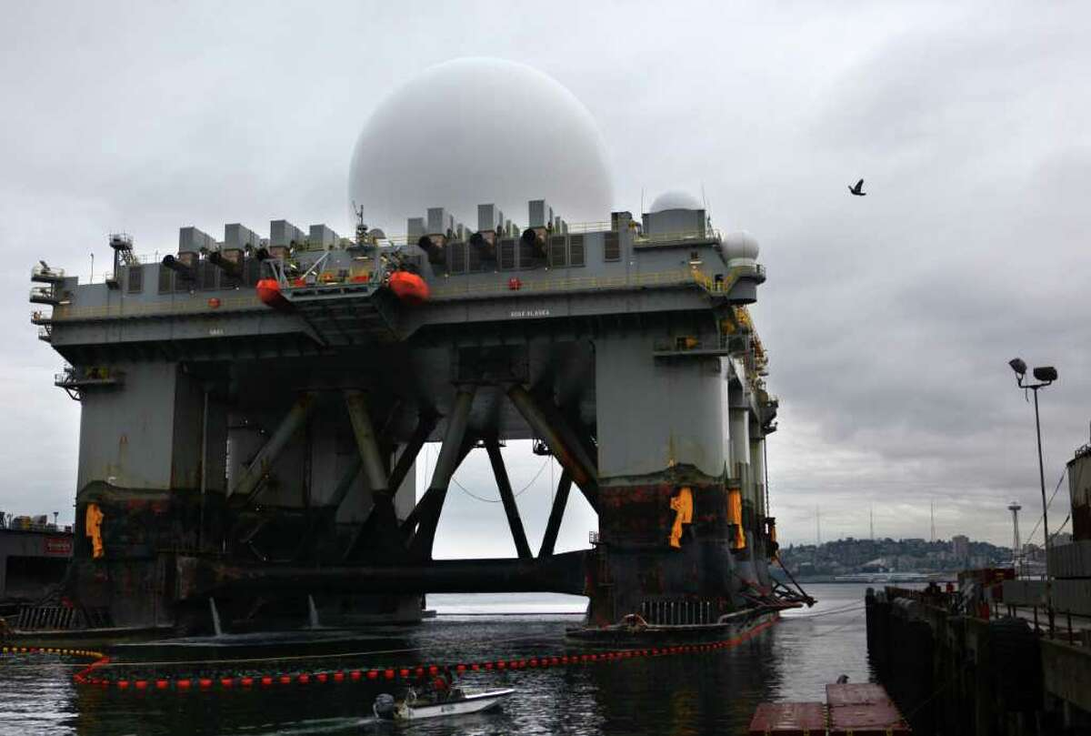 The Missile Defense Agency's Sea-Based X-band Radar (SBX) vessel is moored at Vigor Shipyard on Seattle's Harbor Island on Wednesday, May 11, 2011. The SBX is 240 feet wide and 390 feet long. It towers more than 280 feet from its keel to the top of the radar dome and displaces nearly 50,000 tons. The main deck is larger than a football field. It will be in Seattle for maintenance and upgrades to be performed by Boeing.