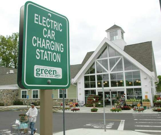 Electric car charging station at the Whole Food store in Darien on Wednesday May 11, 2011. Photo: Cathy Zuraw / Stamford Advocate