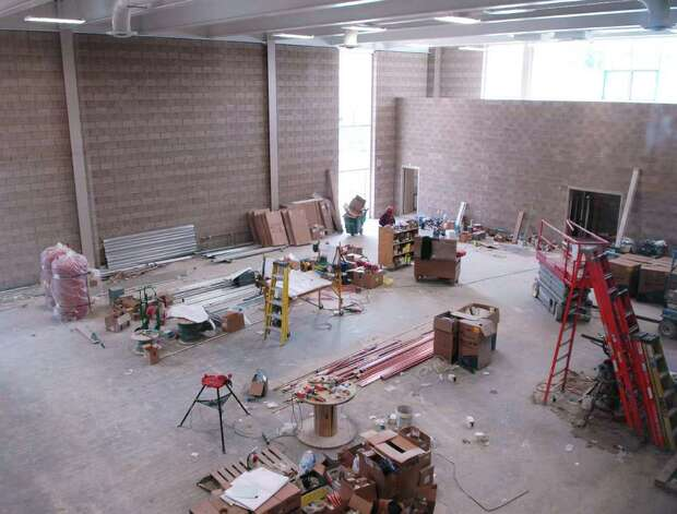 The gymnasium area at Waterside School's new building at 770 Pacific St., Stamford. Photo: Cathy Zuraw / Stamford Advocate