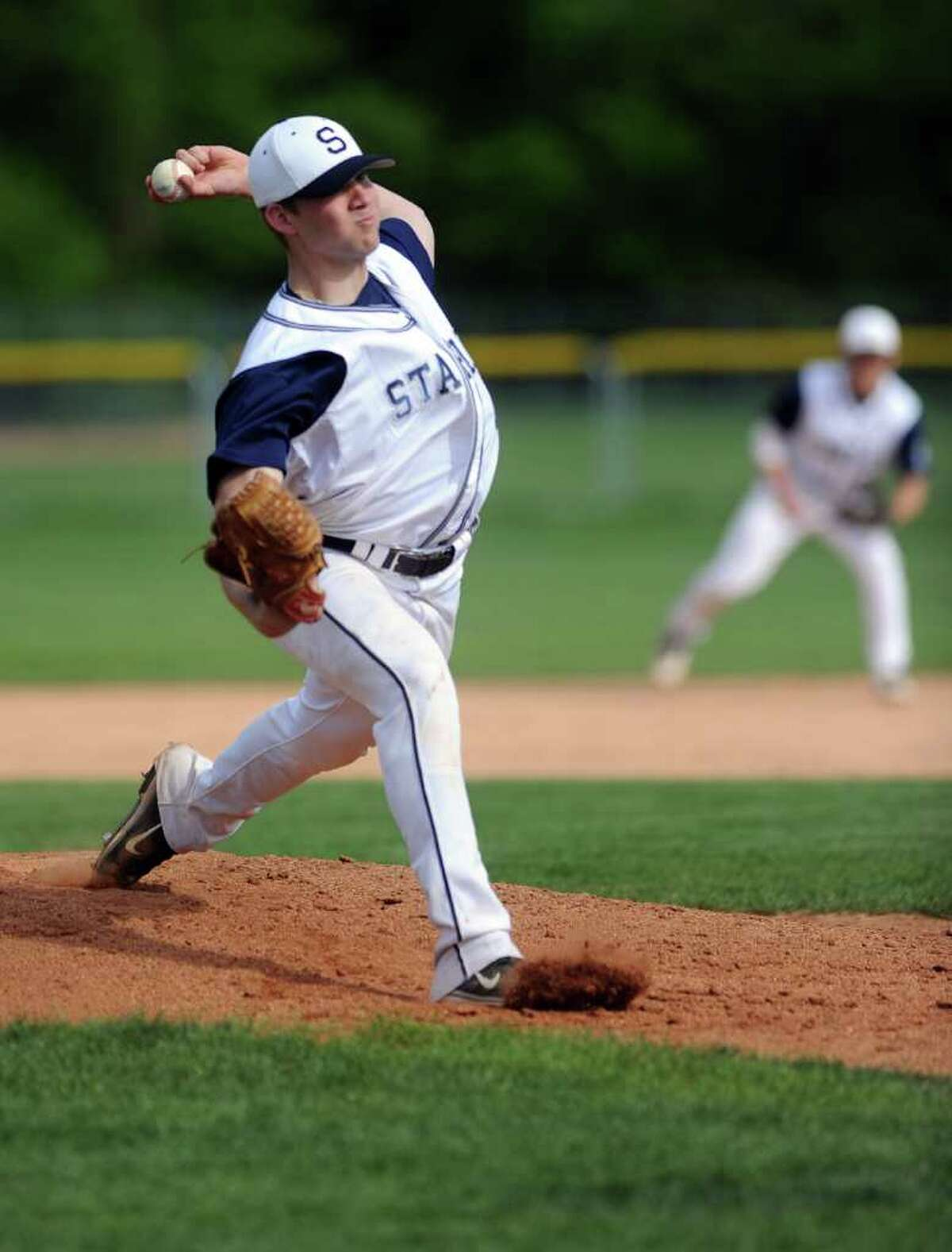 Rob Gau pitches during Wednesday's game against Wilton at Staples High School on May 11, 2011.