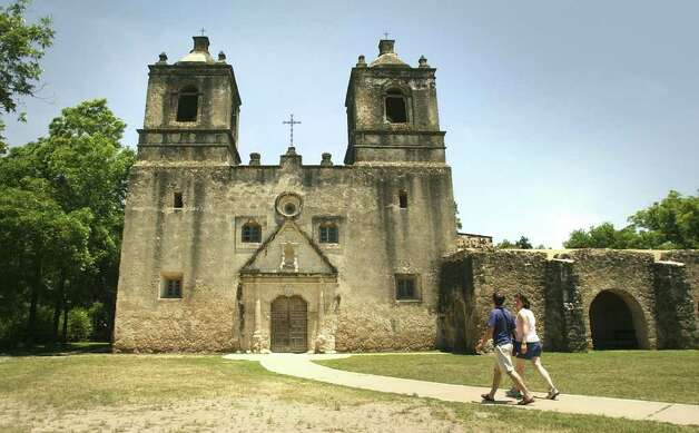 Mission Concepción is the least restored among its peers on the South Side. The roof is original and so are the frescos. The walls are thick and sit on bedrock. Photo: Bob Owen/Express-News / San Antonio Express-News