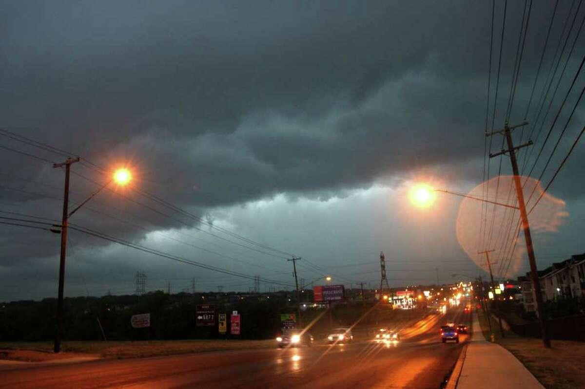 METRO -- View down Marbach Road as thunderstorms hits the San Antonio area, Thursday, May 12, 2011. JERRY LARA/glara@express-news.net