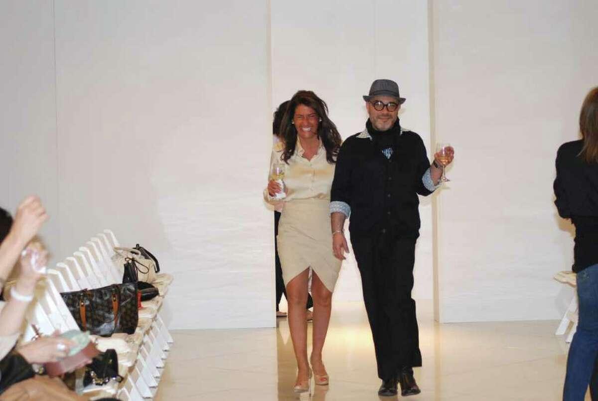 Carmela Roach and Ferdie Ocasio, of Mitchell's of Westport, test the runway!