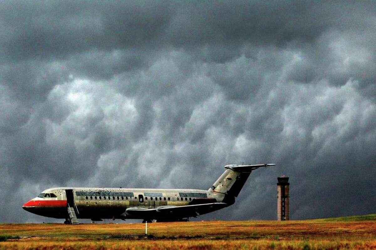 Skies darken over the San Antonio airport Thursday May 12, 2011. JOHN DAVENPORT/jdavenport@express-news.net