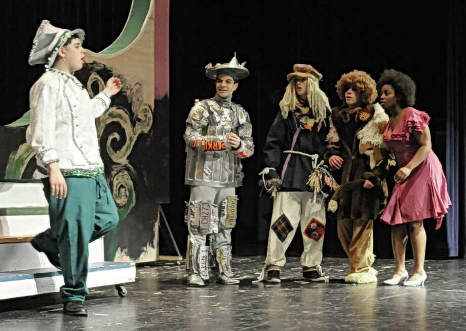 "Part of the cast of the Brookfield High School production of ""The Wiz"", are seen on stage on Wednesday, May 11, 2011. From left are, Zach Katz, Sebastian Arogon, Jackson Camp, Lou Levine, and Couffe Wilson-Goring. Photo: Jay Weir / The News-Times Freelance"