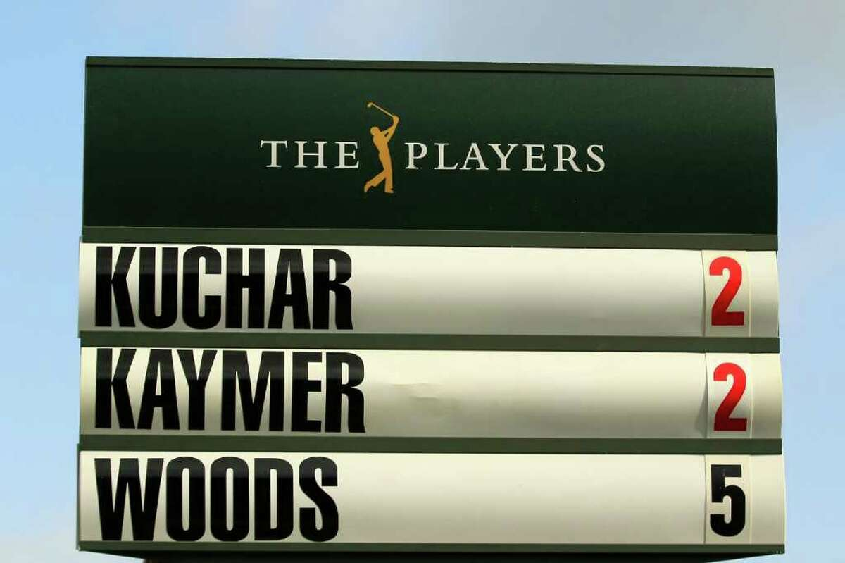 PONTE VEDRA BEACH, FL - MAY 12: A standard is seen on the eighth hole with Matt Kuchar, Martin Kaymer of Germany and Tiger Woods' score during the first round of THE PLAYERS Championship held at THE PLAYERS Stadium course at TPC Sawgrass on May 12, 2011 in Ponte Vedra Beach, Florida. (Photo by Streeter Lecka/Getty Images)