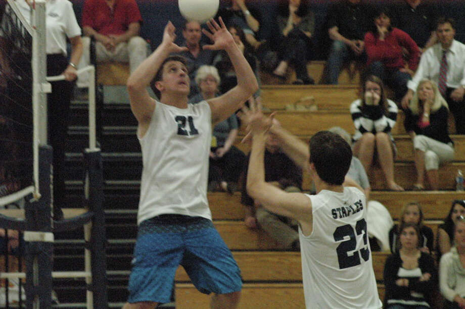 Staples senior quad-captain Danny Fishman had 45 assists and 11 service points Wednesday in a 3-1 home win against Ridgefield. Photo: Picasa 3.0, Andy Hutchison For The Westport News