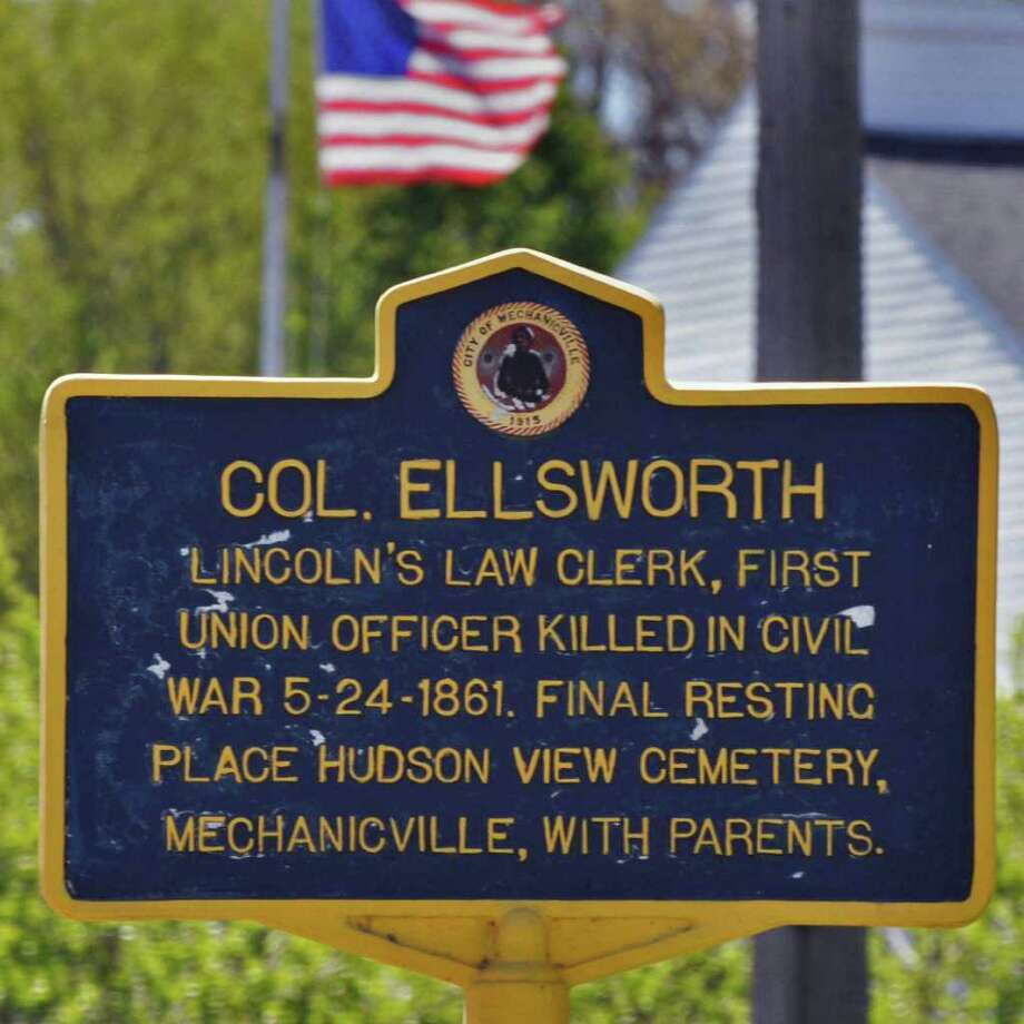 A N.Y.S. historic marker in Mechanicville Tuesday morning May 10, 2011, honors Col. Elmer Ellsworth, who was the first Union officer killed in the Civil War 150 years ago this month.   (John Carl D'Annibale / Times Union) Photo: John Carl D'Annibale / 00013069A
