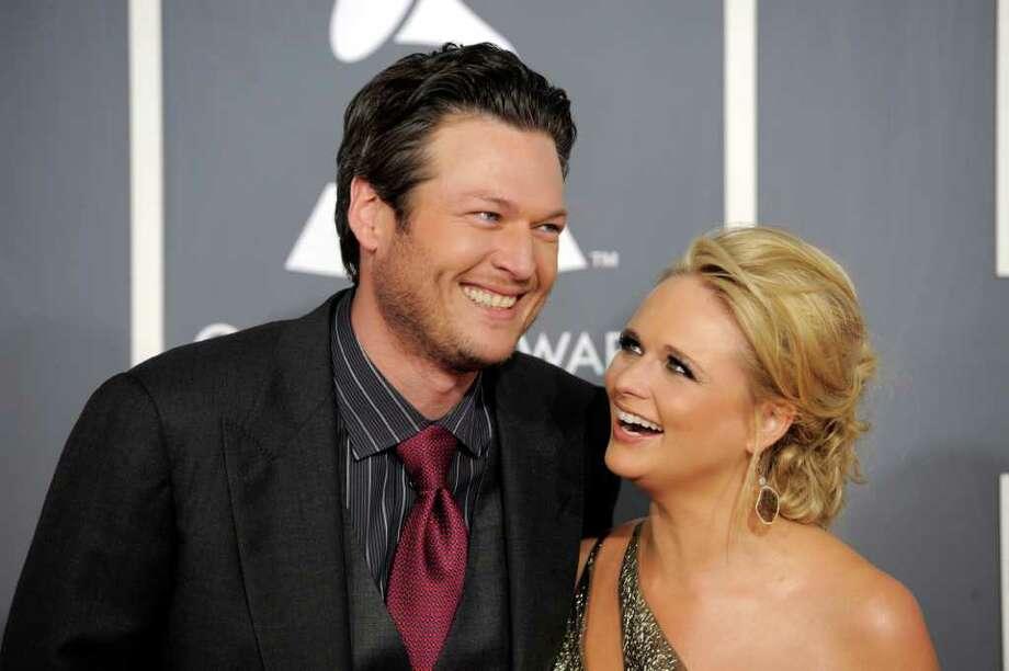 Blake Shelton Left And Miranda Lambert Arrive At The 53rd Annual Grammy Awards In