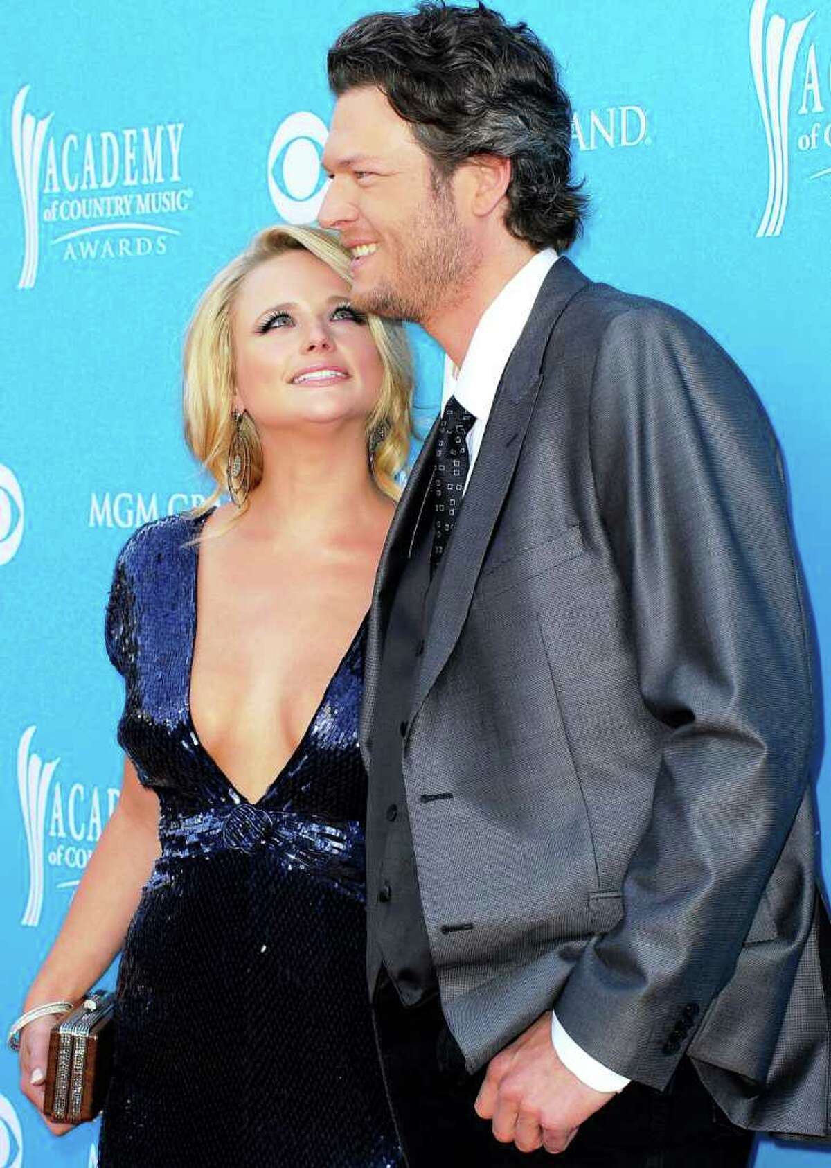 Country stars Miranda Lambert and Blake Shelton arrive for the 45th Annual Academy of Country Music Awards at the MGM Grand Garden Arena in Las Vegas in 2010.