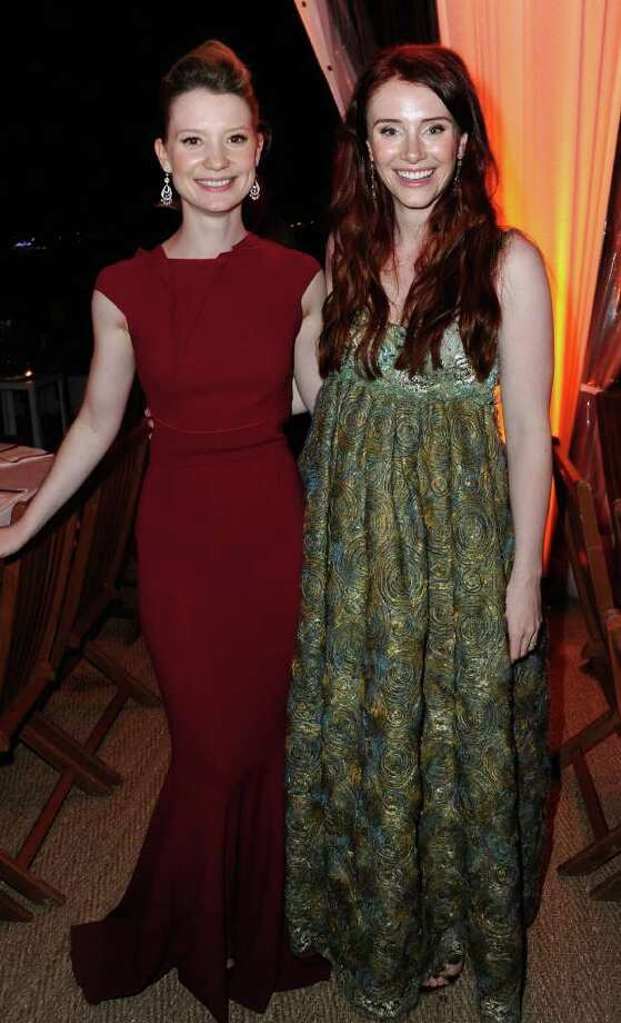 "Actresses Mia Wasikowska (L) and Bryce Dallas Howard attendsthe ""Restless"" dinner during the 64th Annual Cannes Film Festival at the Moet & Chandon Terrace on May 12, 2011 in Cannes, France.  (Photo by Michael Buckner/Getty Images) *** Local Caption *** Mia Wasikowska;Bryce Dallas Howard; Photo: Getty Images"