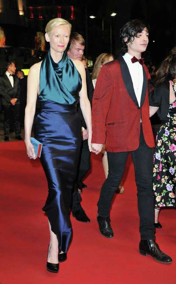 Actress Tilda Swinton and actor Ezra Miller arrive at the 'We Need To Talk About Kevin' premiere during the 64th Annual Cannes Film Festival at the Palais des Festivals on May 12, 2011 in Cannes, France.  (Photo by Pascal Le Segretain/Getty Images) *** Local Caption *** Tilda Swinton;Ezra Miller; Photo: Getty Images