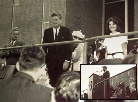 President John F. Kennedy (center) stands with his wife Jackie Kennedy (right) at Brooks AFB in San Antonio the day before he was assassinated in Dallas. The inset (bottom right) shows the podium or lectern he used that day. The lectern and some other related items have been donated to the Witte Museum. Photo: Courtesy Photo/Witte Museum / jdavenport@express-news.net