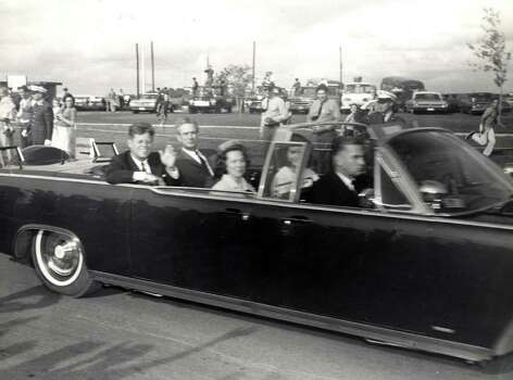President John F. Kennedy and Texas Gov. John Connolly arrive at Brooks AFB on Nov. 21, 1963. Courtesy of the Witte Museum Collection Photo: Courtesy Of The Witte Museum Collection