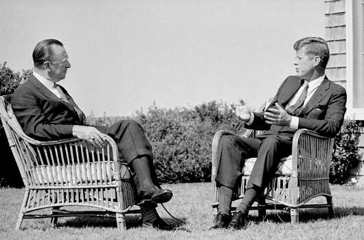 In this  Sept. 2, 1963 photo provided by CBS, President John Kennedy talks with Walter Cronkite during a taped television interview at the President's summer home at Hyannis Port, Ma. Photo: Anonymous, ASSOCIATED PRESS / AP1963