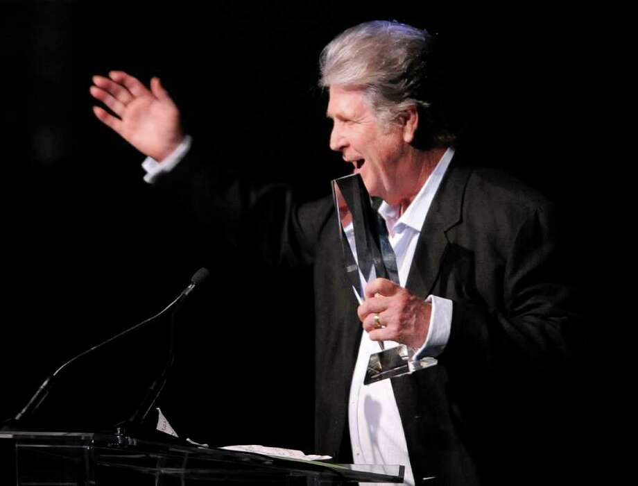 Brian Wilson accepts the Chairman's Award during the National Association of Recording Merchandisers Convention Awards Dinner, Thursday, May 12, 2011, in Los Angeles. Photo: AP