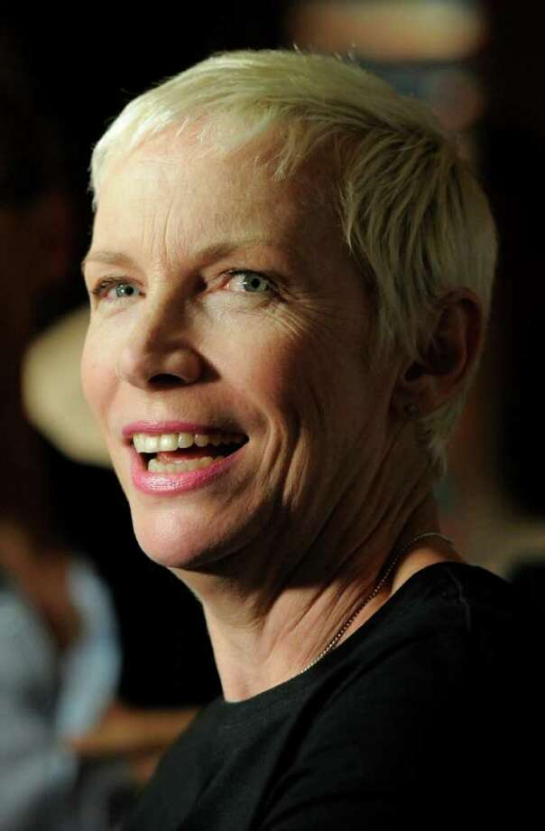 Annie Lennox is interviewed at the National Association of Recording Merchandisers Convention Awards Dinner, Thursday, May 12, 2011, in Los Angeles. Photo: AP