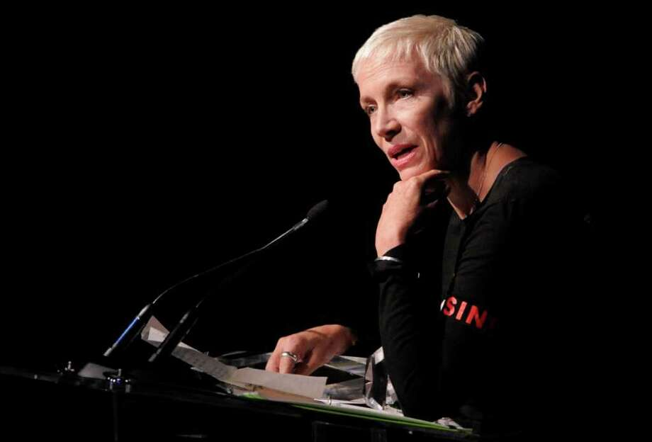 Singer Annie Lennox accepts the Humanitarian Award at the National Association of Recording Merchandisers Convention Awards Dinner, Thursday, May 12, 2011, in Los Angeles. Photo: AP