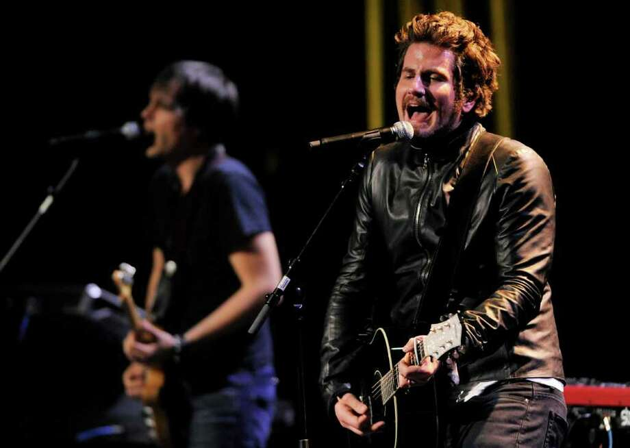 Singer Matt Nathanson, right, performs at the National Association of Recording Merchandisers Convention Awards Dinner, Thursday, May 12, 2011, in Los Angeles. Photo: AP