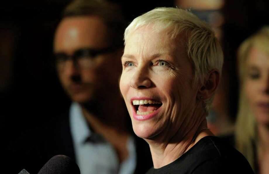 Singer Annie Lennox is interviewed before the National Association of Recording Merchandisers Convention Awards Dinner, Thursday, May 12, 2011, in Los Angeles. Photo: AP