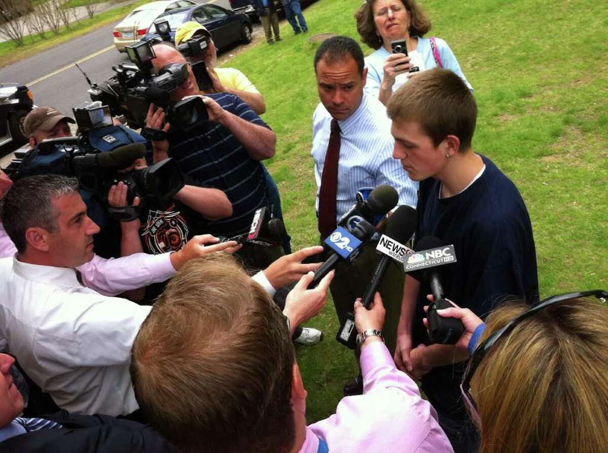 Shelton High School Junior Chris Anastasia, one of the students that attempted to have a sit-in at the school in support of James Tate, addresses the media on Friday May 13, 2011.