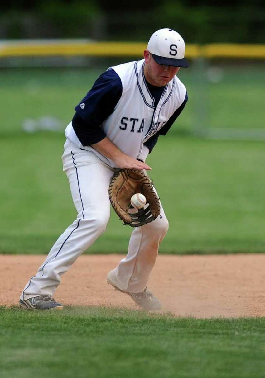 during Friday's game against St. Joseph High School at Staples High School on May 13, 2011.