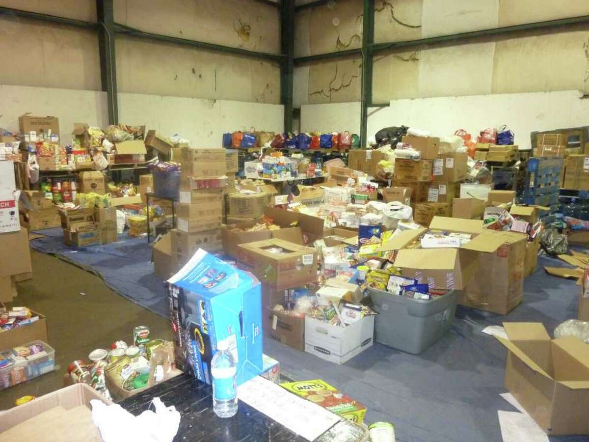 A warehouse filled with food and other donations collected for survivors of the devastating tornado that struck Tuscaloosa, Ala. on April 27.