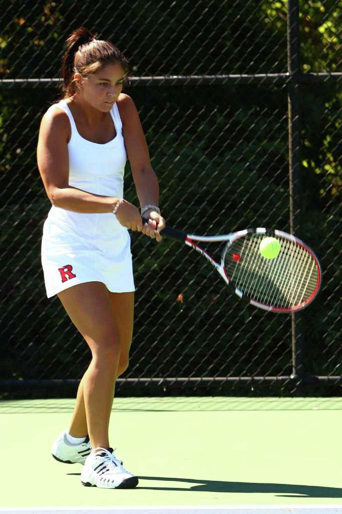 Rutgers Vanessa Petrini lines up a shot.