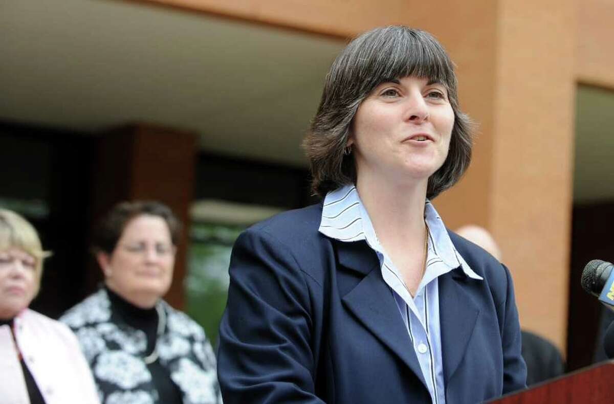 Shelton High School Headmaster Dr. Beth A. Smith announces James Tate will be allowed to go to the Shelton High School prom after all during a press conference Saturday, May 14, 2011. The senior was banned from the prom for posting a message May 6 on the school building made with cut-out letters asking friend Sonali Rodrigues to be his date.