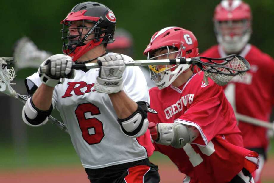 Greenwich High School's Briggs Barton #6 during boys lacrosse action in Rye, NY on Saturday May, 14, 2011. Photo: Douglas Healey, Douglas Healey/For Greenwich Tim / Greenwich Time