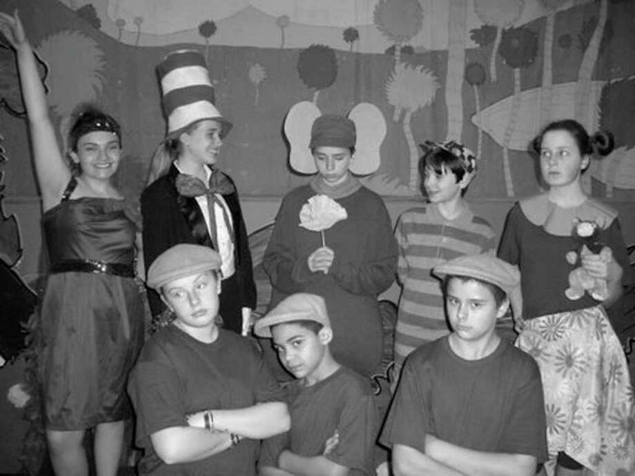 Sarah Fox (Mayzie), Rebecca Jordan (Cat in the Hat), David Smith (Horton), Justin Jasiewicz (Jojo),  Paige Adamczak (Sour Kangaroo)   (Bottom, left to right) Sarah Davey, Will Aybar, Zach Horton (The Wickersham Brothers) (Courtesy Christine Adamczak) Photo: Picasa 3.0