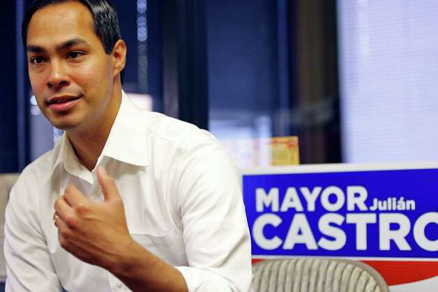 Mayor Julián Castro answers questions from the media at his campaign headquarters on Saturday, May 14, 2011. Photo: Edward A. Ornelas/Express-News / SAN ANTONIO EXPRESS-NEWS (NFS)