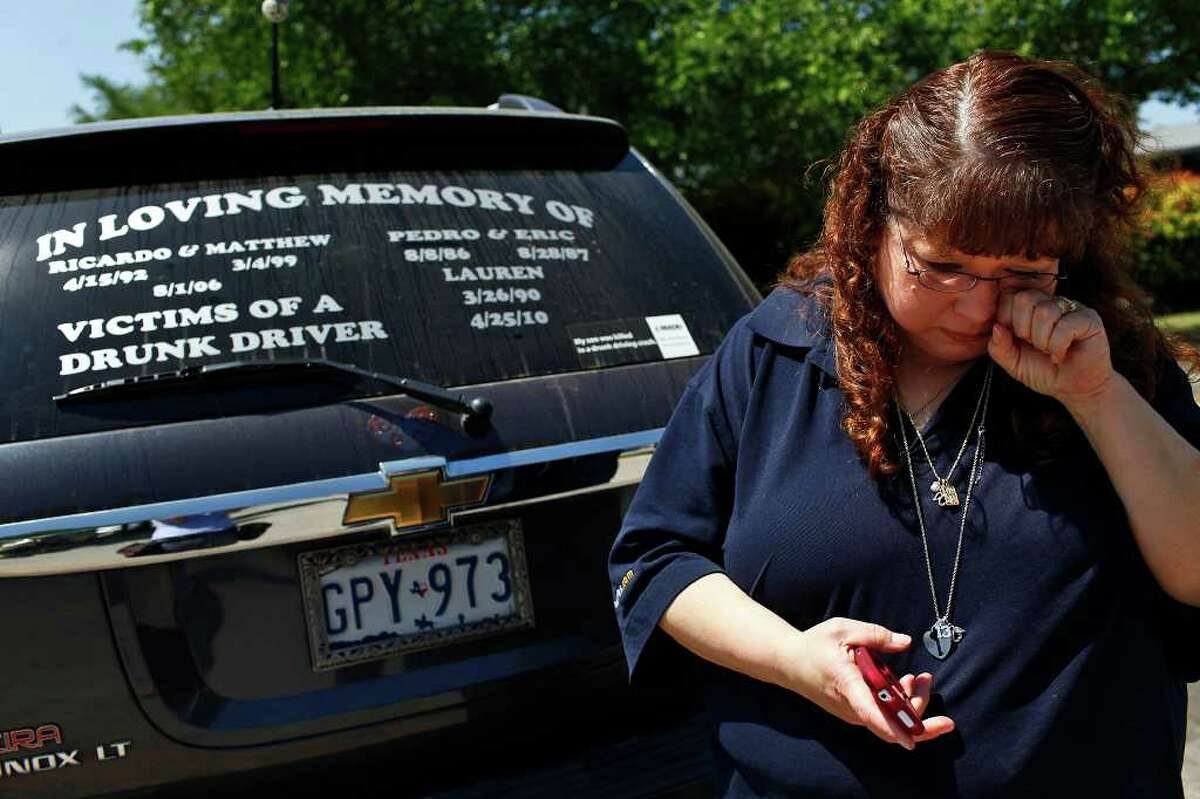Christi Zamarripa wipes her eye after becoming emotional while talking about the loss of both of her sons in separate DWI accidents, both were killed by drunk drivers, in San Antonio on Friday, April 1, 2011. LISA KRANTZ/lkrantz@express-news.net