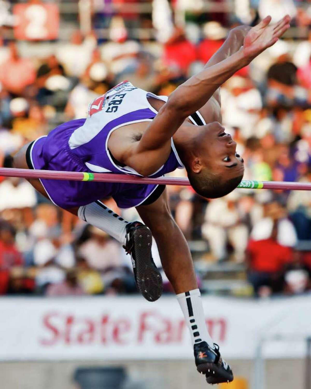 """San Marcos' Allex Austin took first place in the 5A boys' high jump with a jump of 6' 10"""" during the State Track & Field championships at Mike Myers Stadium on May 14, 2011. MARVIN PFEIFFER/mpfeiffer@express-news.net"""