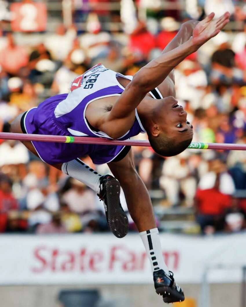 San Marcos' Allex Austin took first place in the 5A boys' high jump with a jump of 6' 10