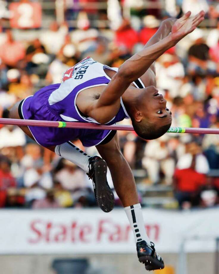"San Marcos' Allex Austin took first place in the 5A boys' high jump  with a jump of 6' 10"" during the State Track & Field championships at Mike Myers Stadium on May 14, 2011.   MARVIN PFEIFFER/mpfeiffer@express-news.net Photo: MARVIN PFEIFFER, Express-News / Express-News 2011"