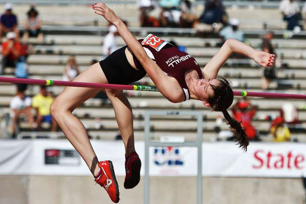 """Marshall's Michaela Palu couldn't repeat last year's performance at the State meet, settling this year for sixth place on this jump of 5' 04"""" during the State Track & Field championships at Mike Myers Stadium on May 14, 2011. MARVIN PFEIFFER/mpfeiffer@express-news.net"""