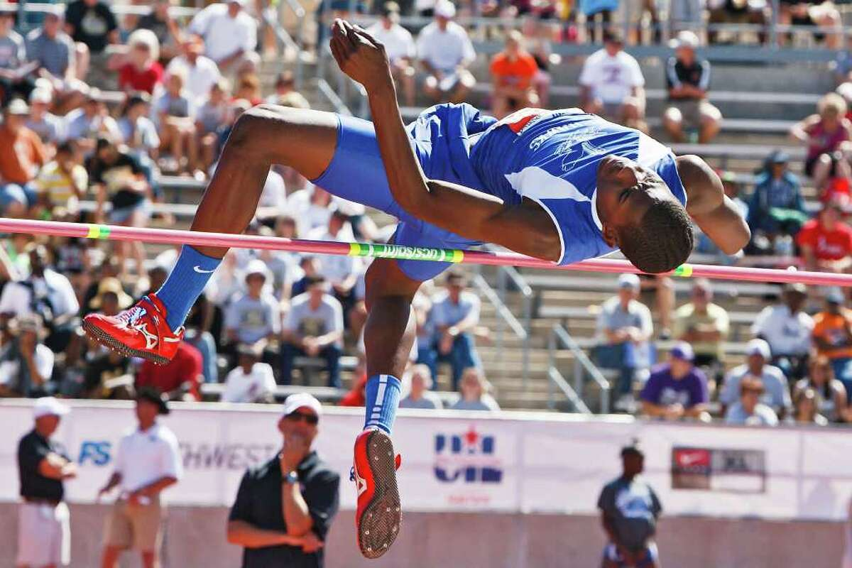 """Randolph's Jacorain Duffield jumped 7' 0"""" to take home gold in the 2A boys' high jump during the State Track & Field championships at Mike Myers Stadium on May 14, 2011. MARVIN PFEIFFER/mpfeiffer@express-news.net"""
