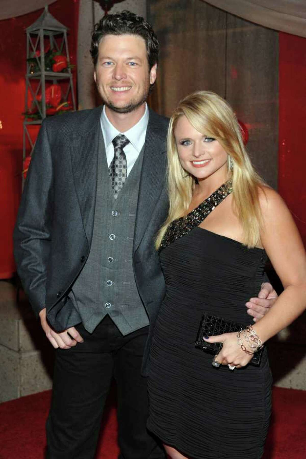 FILE - In this Nov. 9, 2010 file photo, recording artists Blake Shelton, left, and Miranda Lambert arrive at the 2010 BMI Country Awards in Nashville, Tenn. Shelton and Lambert will wed on Saturday, May 14, 2011 in Texas.